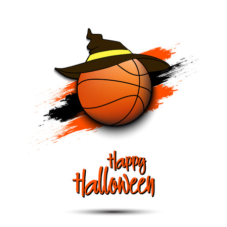 Happy Halloween pattern. Basketball template design. Basketball ball with witch hat. Design pattern for banner, poster, greeting card, flyer, party invitation. Vector illustration Illustration