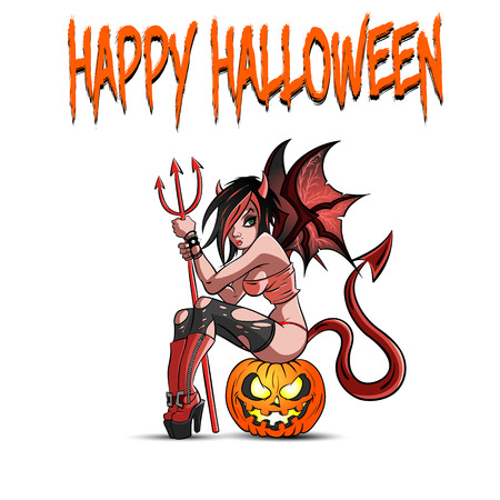 Happy Halloween. Sexy devil woman sitting on a halloween pumpkin. Design pattern for banner, poster, greeting card, flyer, party invitation. Vector illustration Illustration