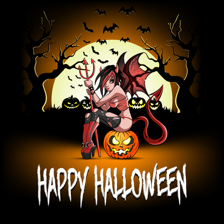 Felice Halloween. Ragazza sexy del diavolo che si siede su una zucca di halloween sullo sfondo di una foresta minacciosa. Modello di design per banner, poster, biglietti di auguri, volantini, inviti a una festa. Illustrazione vettoriale