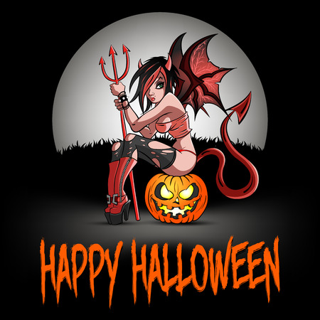 Happy Halloween. Sexy devil woman sitting on a halloween pumpkin on the background of the moon. Design pattern for banner, poster, greeting card, flyer, party invitation. Vector illustration