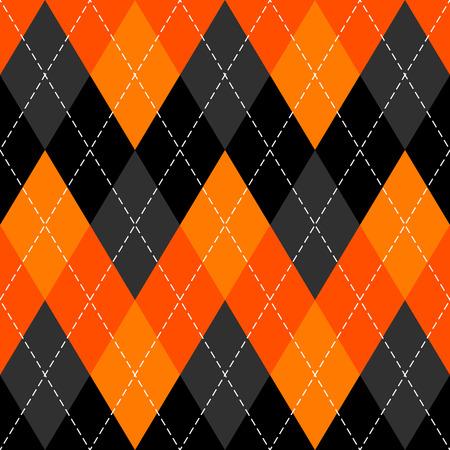 Halloween Argyle plaid. Scottish pattern in orange, black and grey rhombuses. Scottish cage. Traditional Scottish background of diamonds . Seamless fabric texture. Vector illustration Illustration