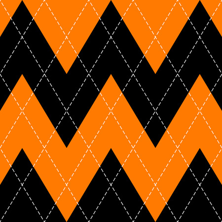 Halloween Argyle plaid. Scottish pattern in orange, black and grey rhombuses. Scottish cage. Traditional Scottish background of diamonds . Seamless fabric texture. Vector illustration 矢量图像