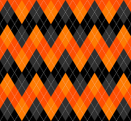 Halloween Argyle plaid. Scottish pattern in orange, black and grey rhombuses. Scottish cage. Traditional Scottish background of diamonds . Seamless fabric texture. Vector illustration Stock Illustratie
