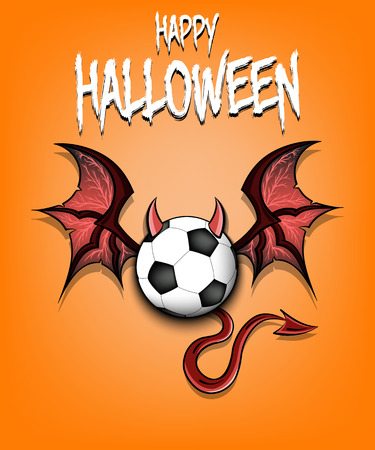 Happy Halloween. Devil soccer ball. Soccer ball with horns, wings and devil tail. Design pattern for banner, poster, greeting card, flyer, party invitation. Vector illustration Иллюстрация