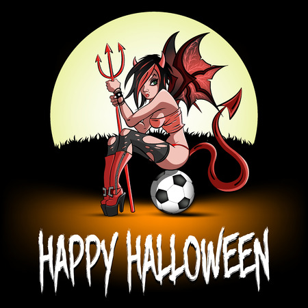 Happy Halloween. Sexy devil woman sitting on a soccer ball on the background of the moon. Design pattern for banner, poster, greeting card, flyer, party invitation. Vector illustration