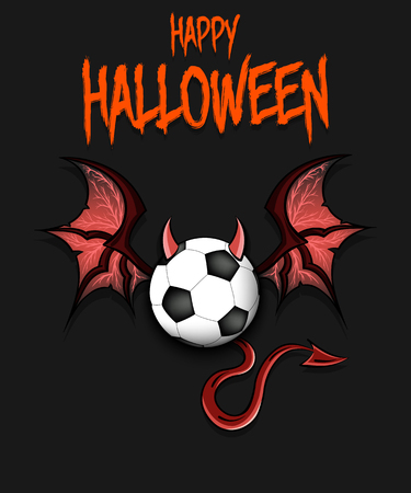 Happy Halloween. Devil soccer ball. Soccer ball with horns, wings and devil tail. Design pattern for banner, poster, greeting card, flyer, party invitation. Vector illustration