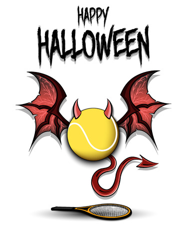 Happy Halloween. Devil tennis ball. Tennisl ball with horns, wings and devil tail. Design pattern for banner, poster, greeting card, flyer, party invitation. Vector illustration