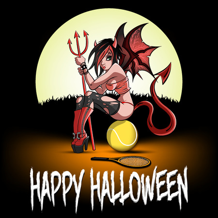 Happy Halloween. Sexy devil woman sitting on a tennis ball on the background of the moon. Design pattern for banner, poster, greeting card, flyer, party invitation. Vector illustration