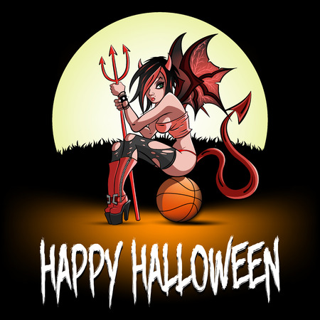 Happy Halloween. Sexy devil woman sitting on a basketball ball on the background of the moon. Design pattern for banner, poster, greeting card, flyer, party invitation. Vector illustration