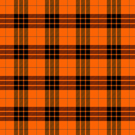 Halloween Tartan plaid. Scottish pattern in orange, black  and grey cage. Scottish cage. Traditional Scottish checkered background. Seamless fabric texture. Vector illustration