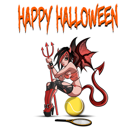 Happy Halloween. Sexy devil woman sitting on a basketball ball on a white background. Design pattern for banner, poster, greeting card, flyer, party invitation. Vector illustration Vector Illustration