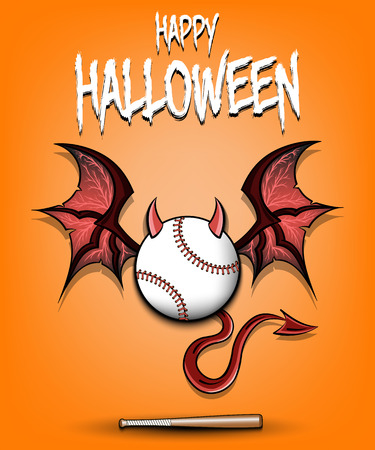 Happy Halloween. Devil baseball ball. Baseball ball with horns, wings and devil tail. Design pattern for banner, poster, greeting card, flyer, party invitation. Vector illustration