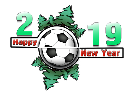 Happy new year 2019 and soccer ball with Christmas trees on an isolated white background. Creative design pattern for greeting card, banner, poster, flyer,  invitation, calendar. Vector illustration  イラスト・ベクター素材