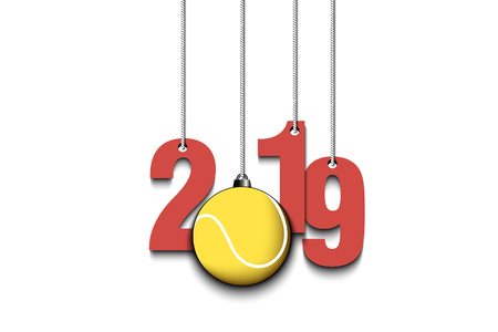 2019 New Year and tennis ball as a Christmas decorations hanging on strings. 2019 hang on cords on an isolated black background. Design pattern for greeting card. Vector illustration