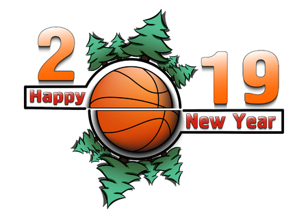 Happy new year 2019 and basketball with Christmas trees on an snowflakes background. Creative design pattern for greeting card, banner, poster, flyer, party invitation, calendar. Vector illustration  イラスト・ベクター素材