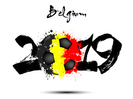 Abstract number 2019 and soccer ball from blots painted in the colors of the Belgium flag. 2019 New Year on an isolated background. Vector illustration