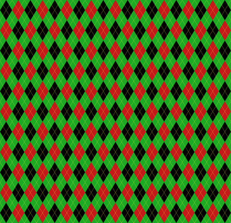 Christmas and new year Argyle plaid. Scottish pattern in red, black and green rhombuses. Scottish cage. Traditional Scottish background of diamonds . Seamless fabric texture. Vector illustration