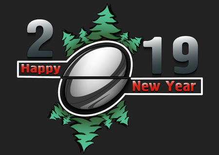 Happy new year 2019 and rugby ball with Christmas trees on an isolated black background. Creative design pattern for greeting card, banner, poster, flyer, invitation, calendar. Vector illustration  イラスト・ベクター素材