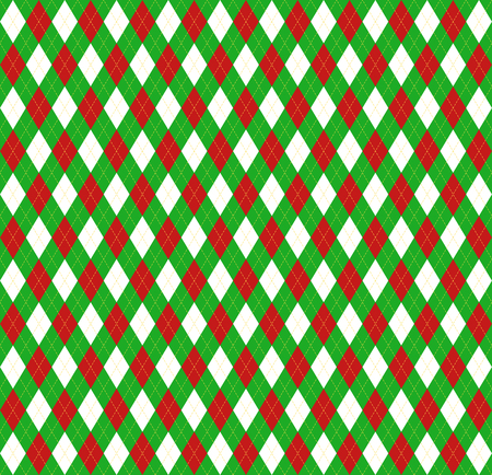 Christmas and new year Argyle plaid. Scottish pattern in white, red and green rhombuses. Scottish cage. Traditional Scottish background of diamonds. Seamless fabric texture. Vector illustration Stock Illustratie