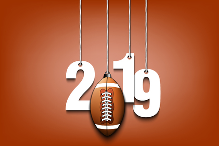 2019 New Year and football ball as a Christmas decorations hanging on strings. 2019 hang on cords on an isolated blue background. Design pattern for greeting card. Vector illustration