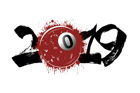 Abstract number 2019 and billiard ball from blots. 2019 New Year on an isolated white background. Design pattern for greeting card. Grunge style. Vector illustration