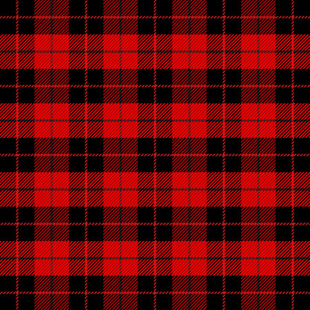 Christmas and new year tartan plaid. Scottish pattern in black and red cage. Scottish cage. Traditional Scottish checkered background. Seamless fabric texture. Vector illustration