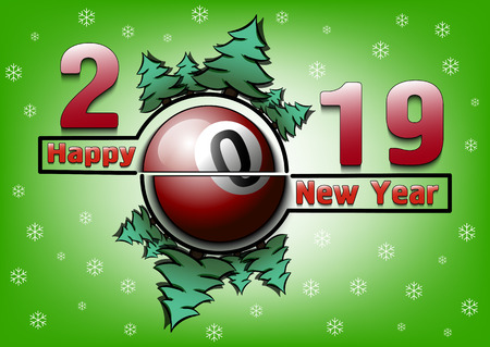 Happy new year 2019 and billiard ball with Christmas trees on an snowflakes background. Creative design pattern for greeting card, banner, poster, flyer, party invitation. Vector illustration Çizim
