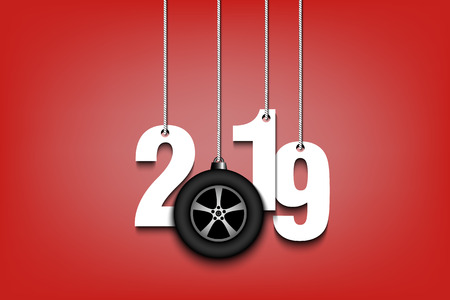 2019 New Year and wheel auto as a Christmas decorations hanging on strings. 2019 hang on cords on an isolated background. Design pattern for greeting card. Vector illustration