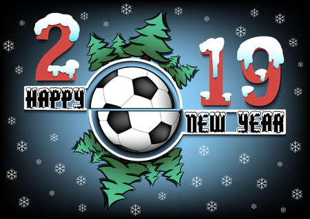 Happy new year 2019 and soccer ball with Christmas trees on an isolated background. Creative design pattern for greeting card, banner, poster, flyer,  invitation, calendar. Vector illustration