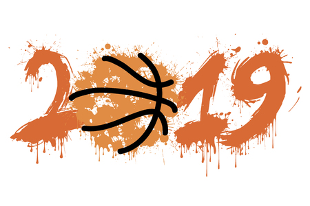 Abstract number 2019 and a basketball ball from blots. 2019 New Year on an isolated background. Design pattern for greeting card. Grunge style. Vector illustration