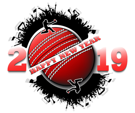Happy new year 2019 and cricket ball with cricket fans. Creative design pattern for greeting card, banner, poster, flyer, party invitation, calendar. Vector illustration