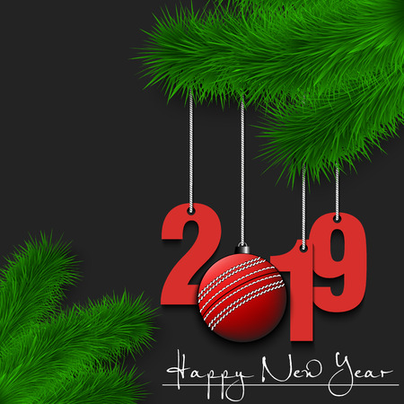 Happy New Year and numbers 2019 and cricket ball as a Christmas decorations hanging on a Christmas tree branch. Design pattern for greeting card. Vector illustration