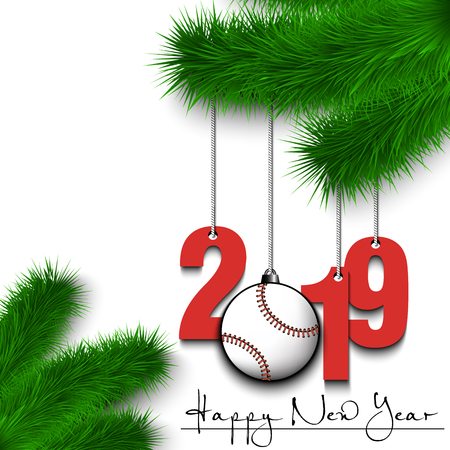Happy New Year and numbers 2019 and baseball ball as a Christmas decorations hanging on a Christmas tree branch. Design pattern for greeting card. Vector illustration