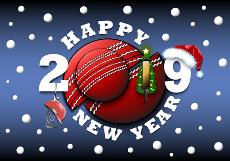 Happy new year 2019 and cricket ball with Christmas tree, hat, bat and helmet. Creative design pattern for greeting card, banner, poster, flyer, party invitation, calendar. Vector illustration