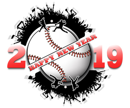 Happy new year 2019 and baseball ball with baseball fans. Creative design pattern for greeting card, banner, poster, flyer, party invitation, calendar. Vector illustration Vectores