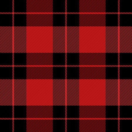 Christmas and new year tartan plaid. Scottish pattern in black and red cage. Scottish cage. Traditional Scottish checkered background. Seamless fabric texture. Vector illustration Ilustración de vector