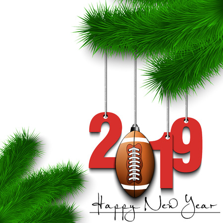 Happy New Year and numbers 2019 and football ball as a Christmas decorations hanging on a Christmas tree branch. Design pattern for greeting card. Vector illustration
