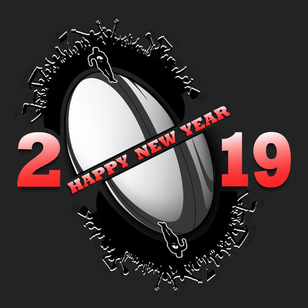 Happy new year 2019 and rugby ball with rugby fans. Creative design pattern for greeting card, banner, poster, flyer, party invitation, calendar. Vector illustration