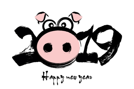 2019 Happy Chinese new year of the pig. Abstract number 2019 and pig muzzle.  Design pattern for greeting card. Vector illustration