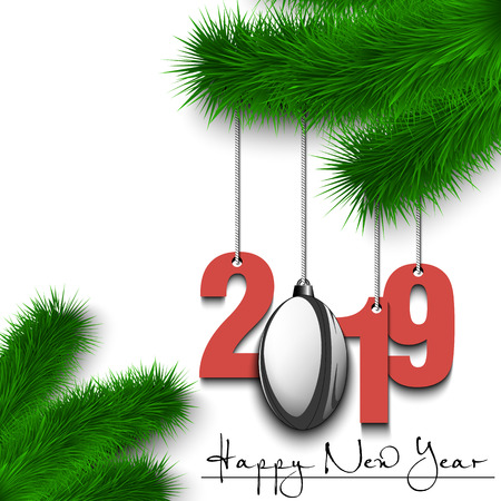 Happy New Year and numbers 2019 and rugby ball as a Christmas decorations hanging on a Christmas tree branch. Design pattern for greeting card. Vector illustration