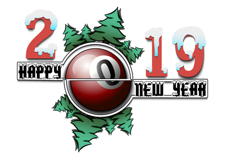 Happy new year 2019 and billiard ball with Christmas trees on an isolated background. Creative design pattern for greeting card, banner, poster, flyer,  invitation, calendar. Vector illustration Illusztráció