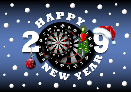 Happy new year 2019 and dartboard with Christmas trees on an isolated background. Creative design pattern for greeting card, banner, poster, flyer,  invitation, calendar. Vector illustration Illustration