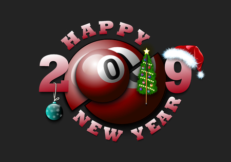 Happy new year 2019 and billiard ball with Christmas tree, hat and football boot. Creative design pattern for greeting card, banner, poster, flyer, party invitation, calendar. Vector illustration