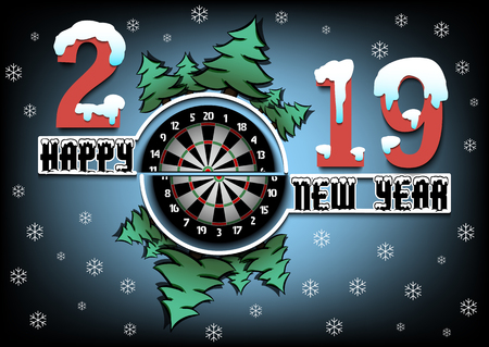 Happy new year 2019 and dartboard with Christmas trees on an isolated white background. Creative design darts pattern for greeting card, banner, poster, flyer,  invitation. Vector illustration