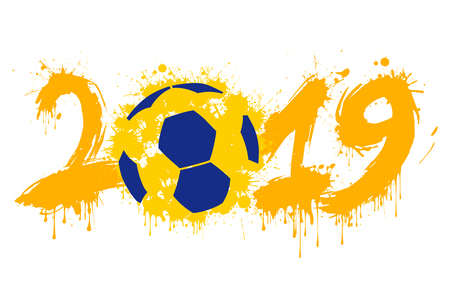 Abstract number 2019 and a handball ball from blots. 2019 New Year on an isolated background. Design pattern for greeting card. Grunge style. Vector illustration