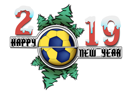 Happy new year 2019 and handball ball with Christmas trees on an isolated background. Creative design pattern for greeting card, banner, poster, flyer, party invitation, calendar. Vector illustration Vettoriali