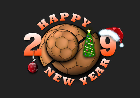 Happy new year 2019 and handball ball with Christmas tree, hat and ball. Creative design pattern for greeting card, banner, poster, flyer, party invitation, calendar. Vector illustration