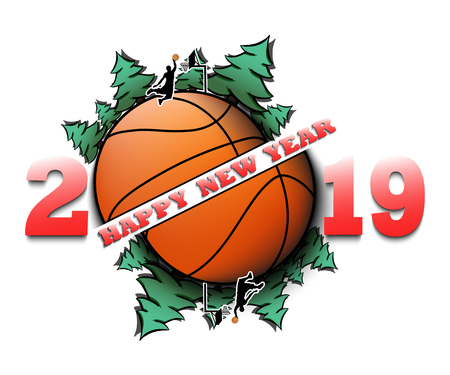 Happy new year 2019 and basketball ball with Christmas trees on an isolated background. Football player scores a goal. Design pattern for greeting card. Vector illustration