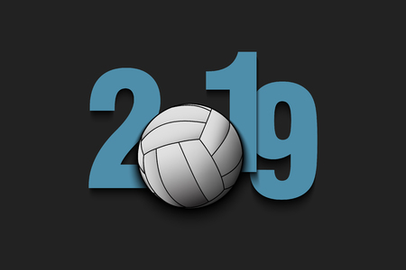New Year numbers 2019 and volleyball ball on an isolated background. Creative design pattern for greeting card, banner, poster, flyer, party invitation, calendar. Vector illustration