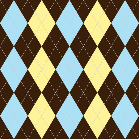 Argyle pattern in brown, blue and yellow rhombuses. Christmas and new year Scottish plaid. Scottish cage. Traditional Scottish background of diamonds. Seamless fabric texture. Vector illustration